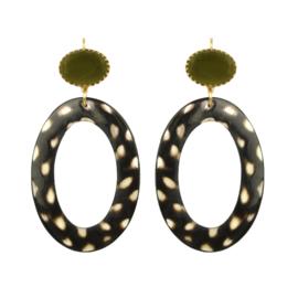 Gooische oorbel fine leopard army green stone earhook gold plating - Fien