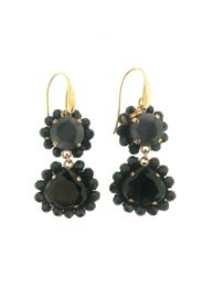 Oorbel dubbel drup zwart grijs steentjes goud - Firenze