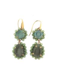 Oorbel groen grijs steentjes goud - Firenze