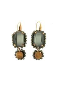 Oorbel dubbel grijs bruin steentjes - Firenze