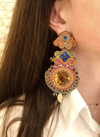 Oorbel multicolour stone large - Imitch Exclusive