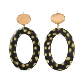 Gooische oorbel fine leopard peach stone earhook gold plating - Fien