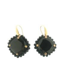 Oorbel steen zwart steentjes goud - Firenze