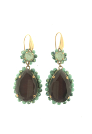 Oorbel druppel hanger turquoise paars goud - Firenze