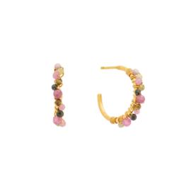 Creool klein steentjes roze mix goud - Une a Une