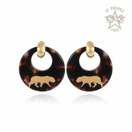 Gas Bijoux Tiger Earrings Acetate gold