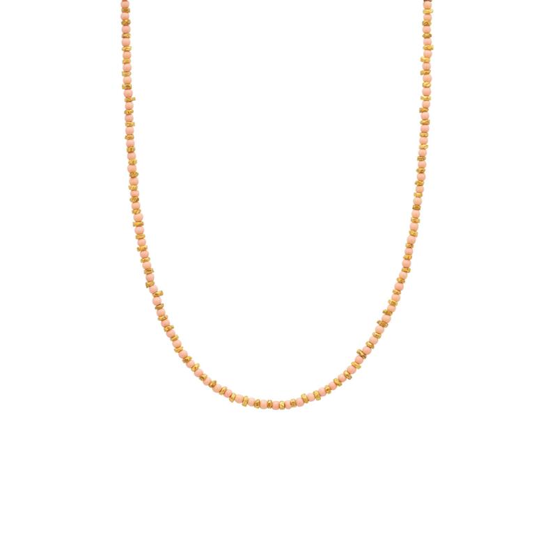 Ketting steentjes oranje goud - Une a Une