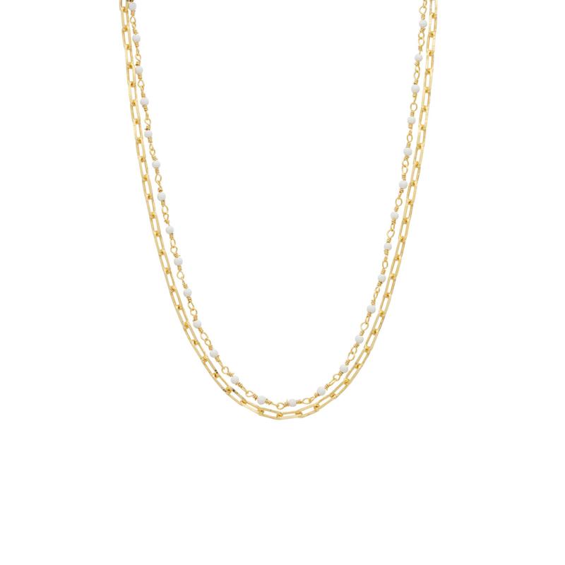 Ketting schakel steentjes wit goud - Une a Une