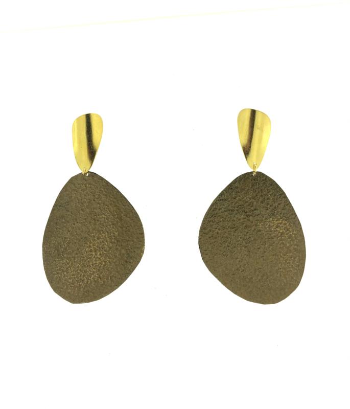 Oorbel hanger brons mat goud - Imitch