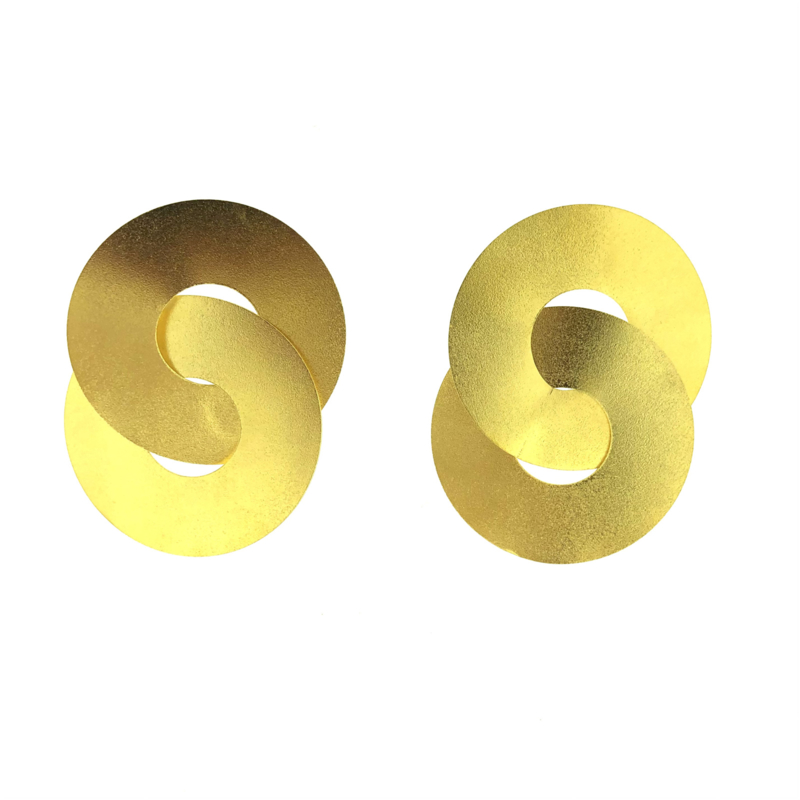 Oorbel rond goud mat grof - Imitch