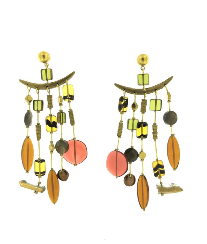 Oorbel gekleurd stenen goud mat - Imitch