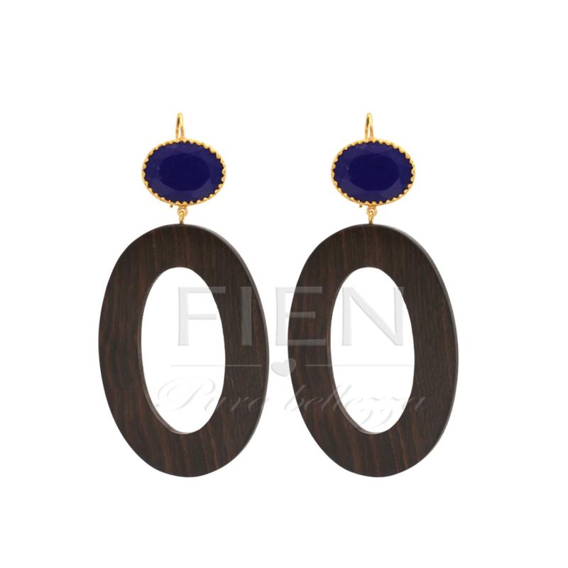 De Gooische oorbel - Fien en Pauline oorbellen -  Wood  Blue