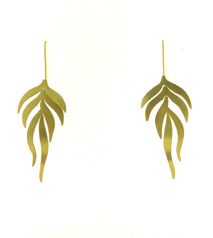 Oorbel blad goud mat - Imitch