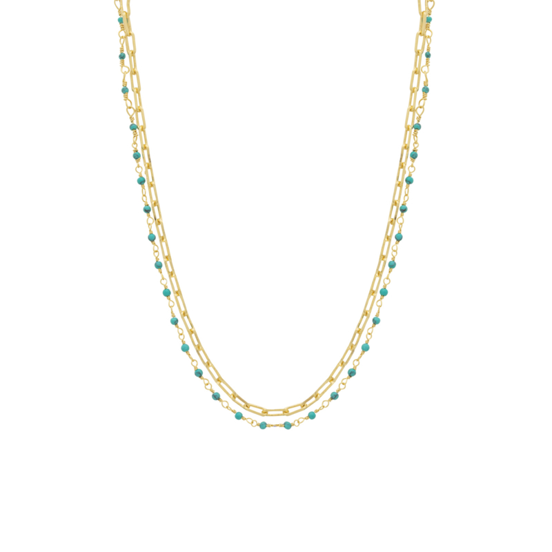 Ketting schakel steentjes turquoise - Une a Une