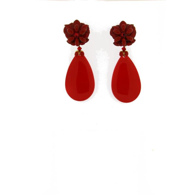 Oorbel flower drop red - Imitch Exclusive