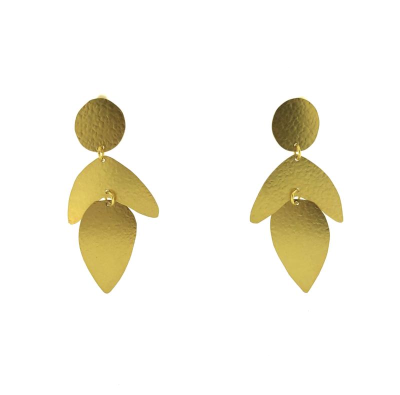 Oorbel leaf goud mat - Imitch