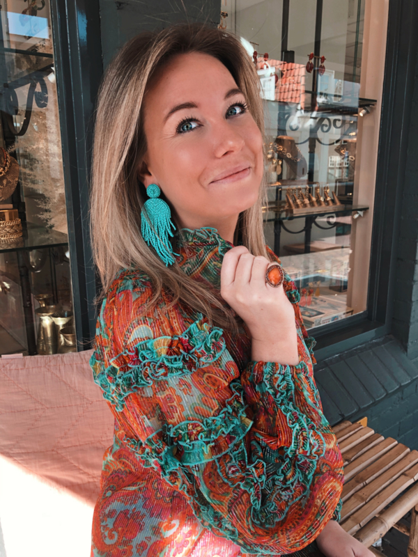 Statement earrings turquoise