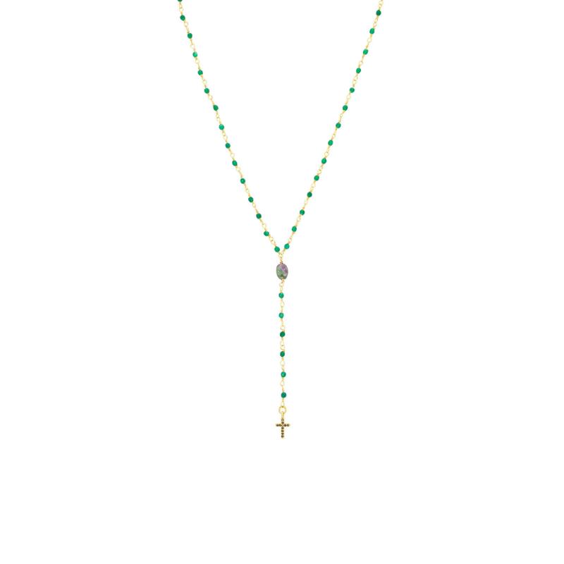 Ketting groen goud kruis - Une a Une