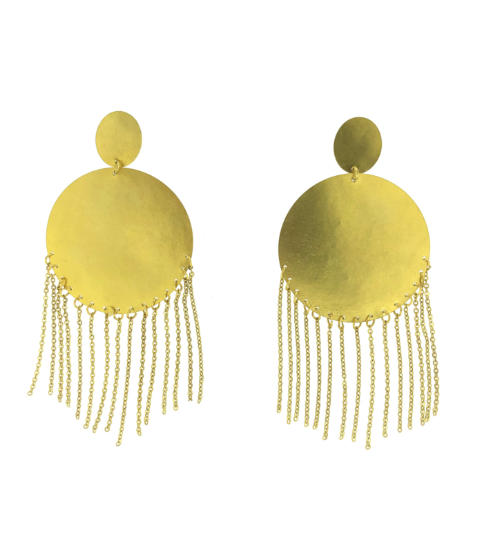 Oorbel rond kettinkjes goud mat - Imitch