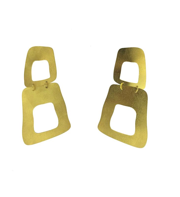 Oorbel vierkant open goud mat - Imitch
