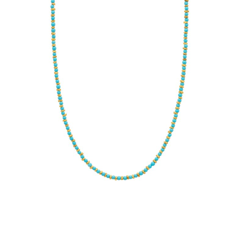 Ketting steentjes turquoise goud - Une a Une