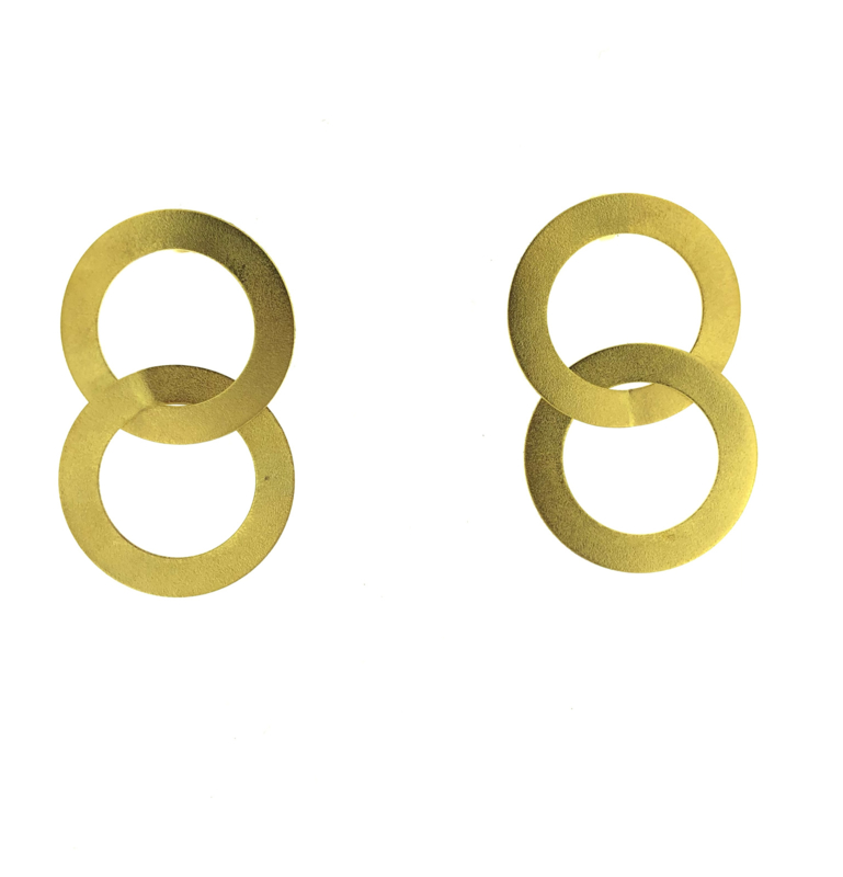 Oorbel rond goud mat - Imitch