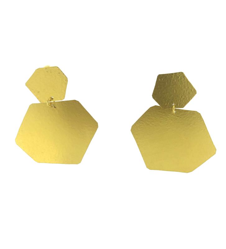 Oorbel hoeken goud mat - Imitch