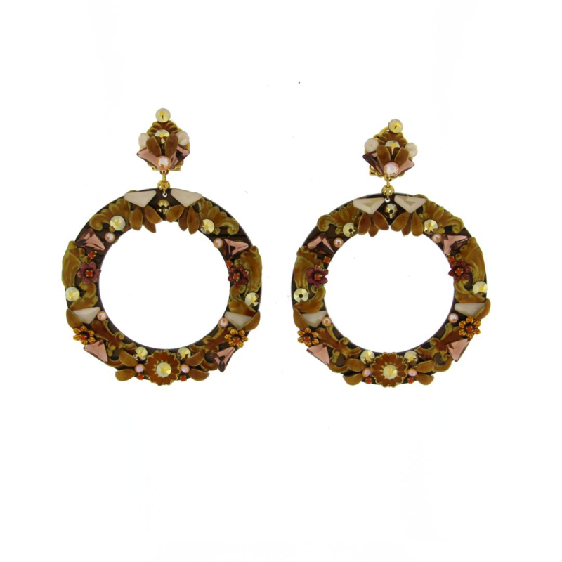 Oorbel  caramel emaille strass - Imitch Exclusive
