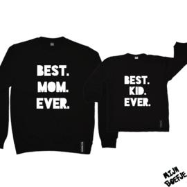 Moeder & dochter/baby sweaters BEST MOM EVER / BEST KID EVER