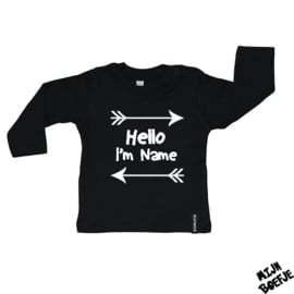 Baby t-shirt Hello i'm + eigen naam