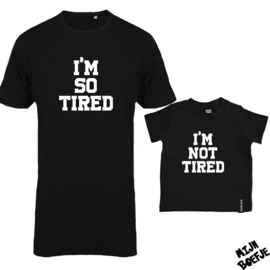 Ouder & kind/baby t-shirt TIRED