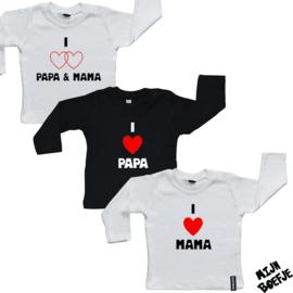 Baby t-shirt I Love Papa & Mama / I Love Opa & Oma