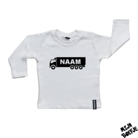 Baby t-shirt Vrachtwagen met eigen naam