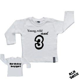 Baby t-shirt Young, wild and 3 - Birthday boy/girl