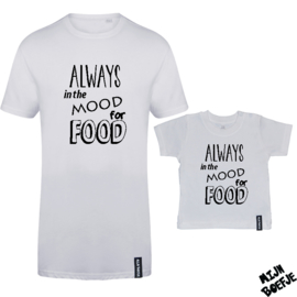 Ouder & kind/baby t-shirt Always in the mood for food