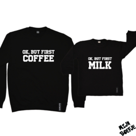 Ouder & kind/baby sweaters OK BUT FIRST COFFEE/MILK