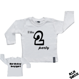 Baby t-shirt I like 2 party - Birthday boy/girl