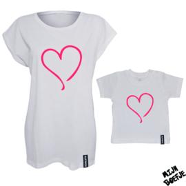 Ouder & kind/baby t-shirt Hartje