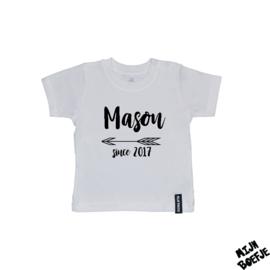 Baby t-shirt Eigen naam SINCE
