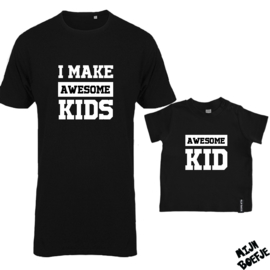 Ouder & kind/baby t-shirt AWESOME