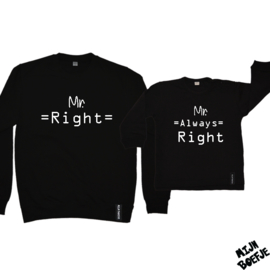 Vader & zoon/baby sweaters Mr Right / Mr Always Right