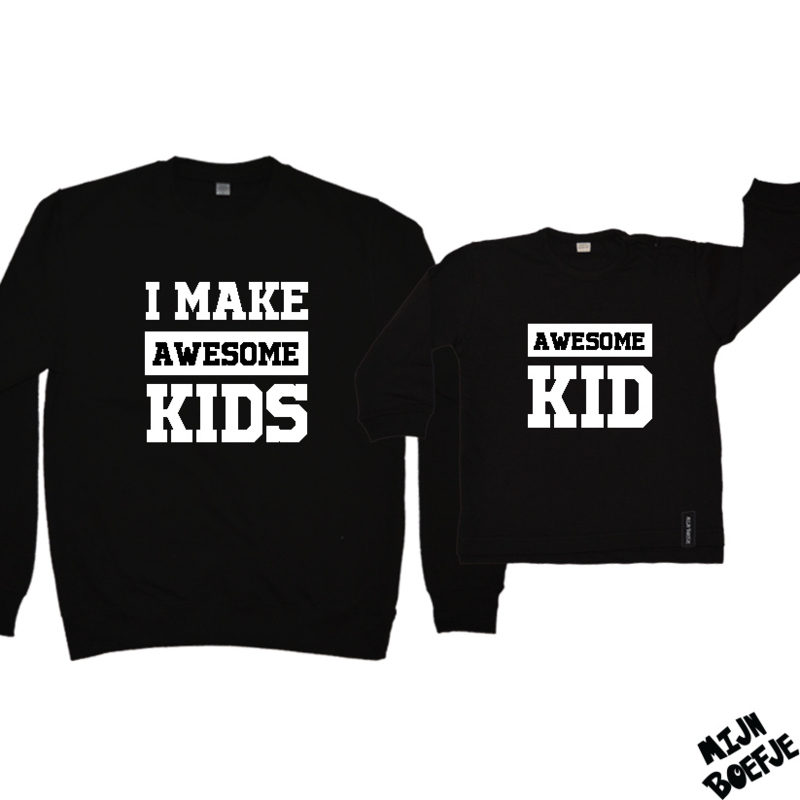 Ouder & kind/baby sweaters I MAKE AWESOME KIDS / AWESOME KID