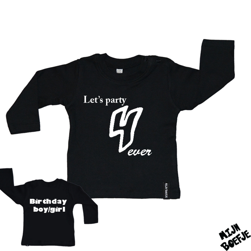 Baby t-shirt Let's party 4 ever - Birthday boy/girl