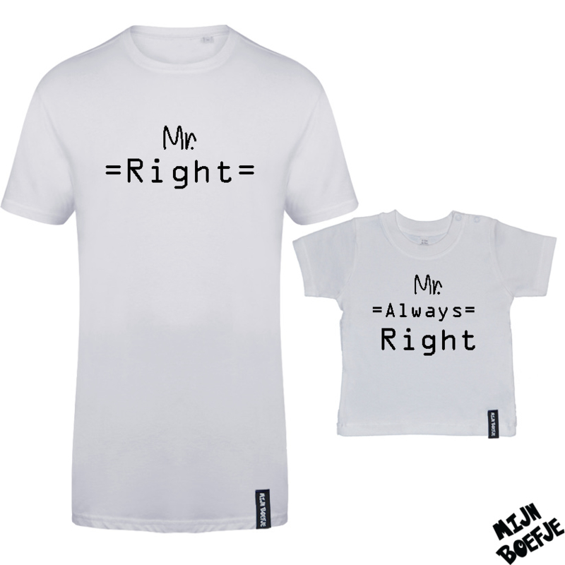 Ouder & kind/baby t-shirt MR RIGHT