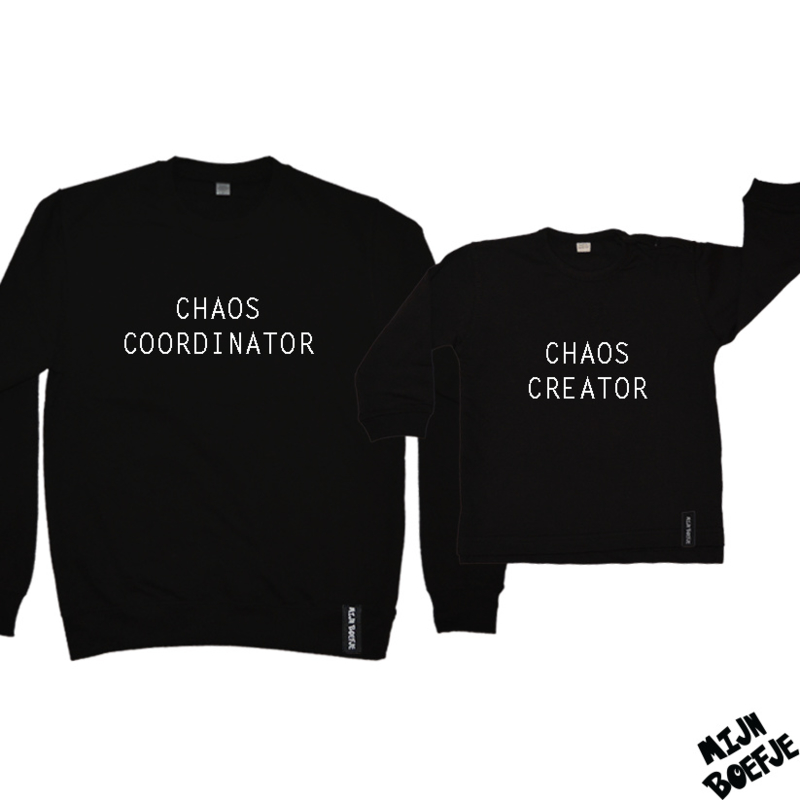 Ouder & kind/baby sweaters CHAOS COORDINATOR / CHAOS CREATOR