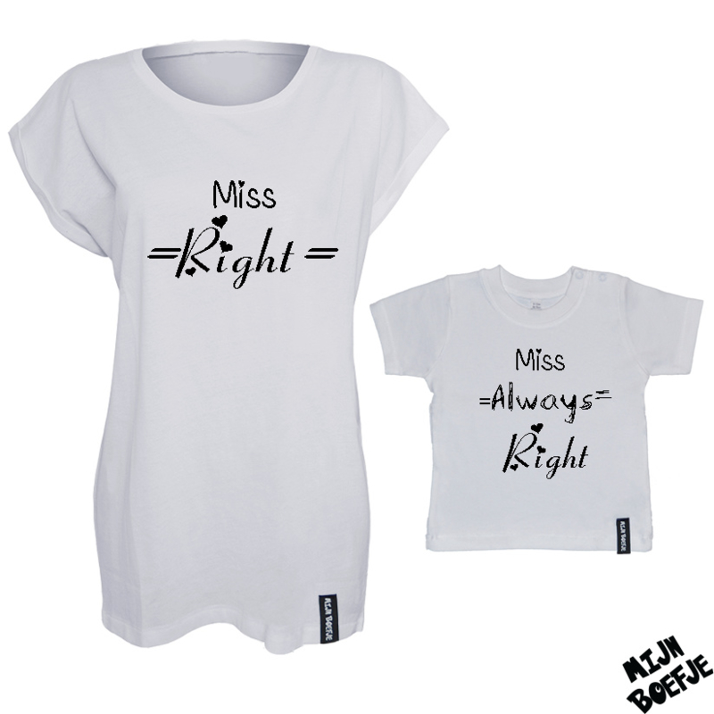 Ouder & kind/baby t-shirt MISS RIGHT