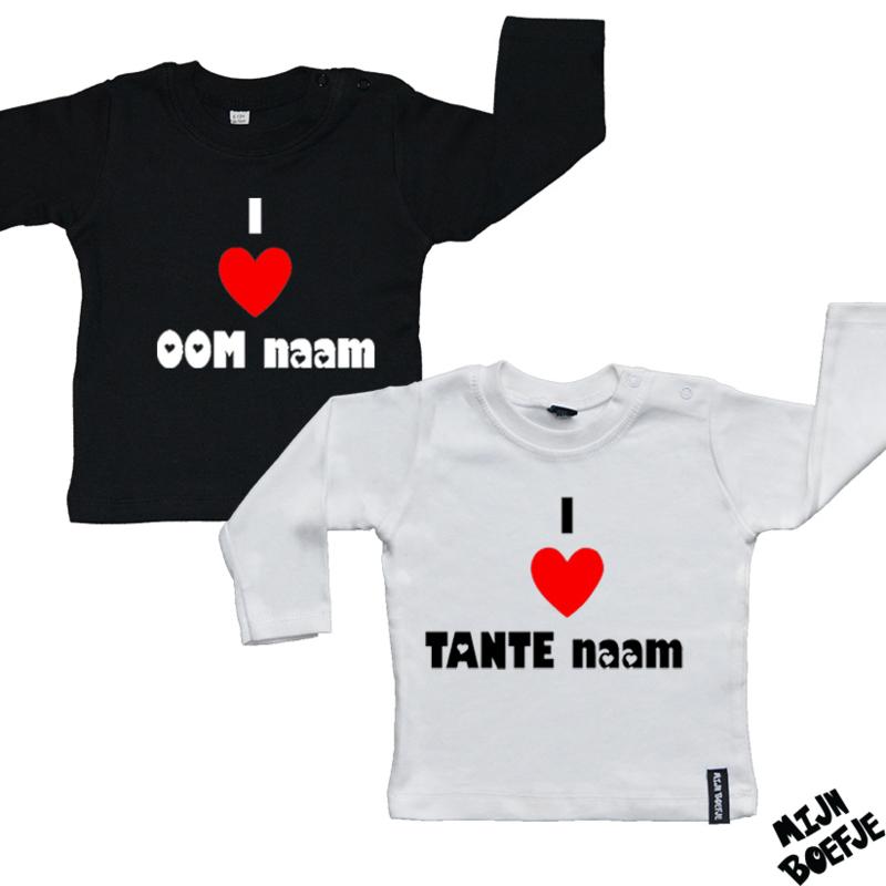 Baby t-shirt I Love Oom (+naam) / I Love Tante (+naam)