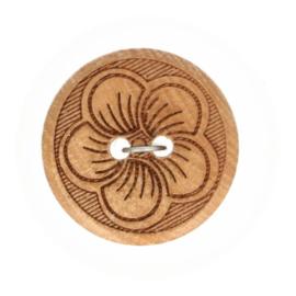 Knoop hout met bloem maat 32
