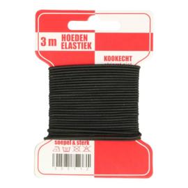 Hoedenelastiek zwart - 3m/mondkapjes