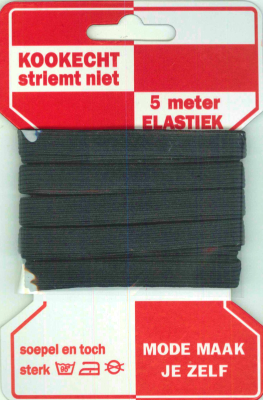 Rode kaart elastiek 10mm zwart/ mondkapjes